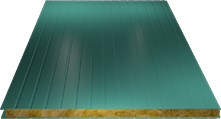 Сэндвич-панель стеновая (базальт) 80мм, Ral 5021