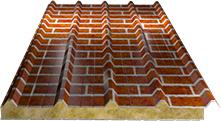 Сэндвич-панель кровельная (базальт) 100мм, Red brick