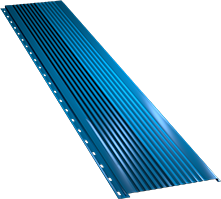 Широкая с крупной волной фасадная панель 0,5 мм, Ral 5005